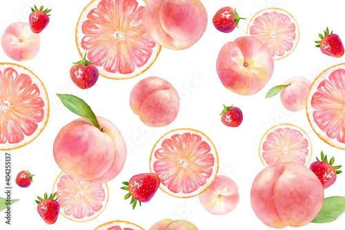 Fototapeta  ピンク色のジューシーなフルーツのシームレスパターン。水彩イラスト。(モモ、イチゴ、グレープフルーツ) obraz