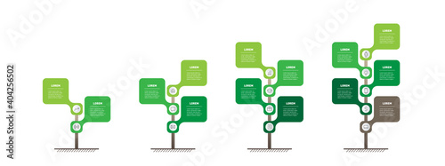 Set of Vertical infographics or timelines with 2, 3, 4 and 5 parts. Development and growth of the green technology in the world. Business presentation with five steps or processes. Info graphic.