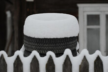 Car Tires For Snowy Winter Concept Photo.