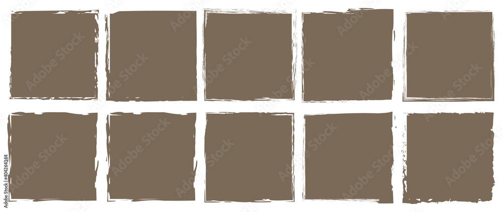 Fototapeta set of brush painted ink stamp banner on white background