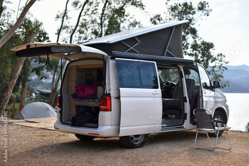 Fototapeta caravan van is stand in camping on sea coast