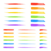 Set, Collection Of Vector Colorful Watercolor Brush Strokes, Lines, Stripes. Rainbow, Lgbt Colors. Watercolour Smears, Fusiform Smudges, Rectangle Brushstrokes. Hand Drawn Text Background, Decoration.