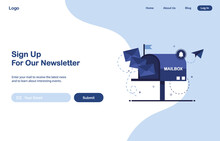 Vector Banner Illustration Of Email Marketing. Subscription To Newsletter, News, Offers, Promotions. Mailbox With Letters. Buttons Template. Subscribe, Submit. Send By Mail. Blue And White. Eps 10