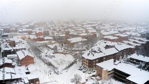 Heavy snowfall by storm Filomena in Las Rozas, Madrid