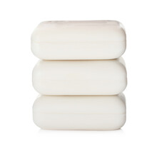 Soap Bars On White Background. Personal Hygiene