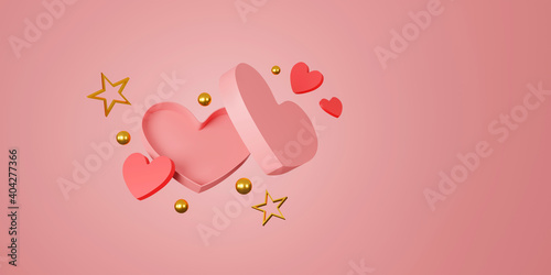 Obraz happy valentine's day banner. heart, gift and box on pink background. space for text. 3D illustration - fototapety do salonu