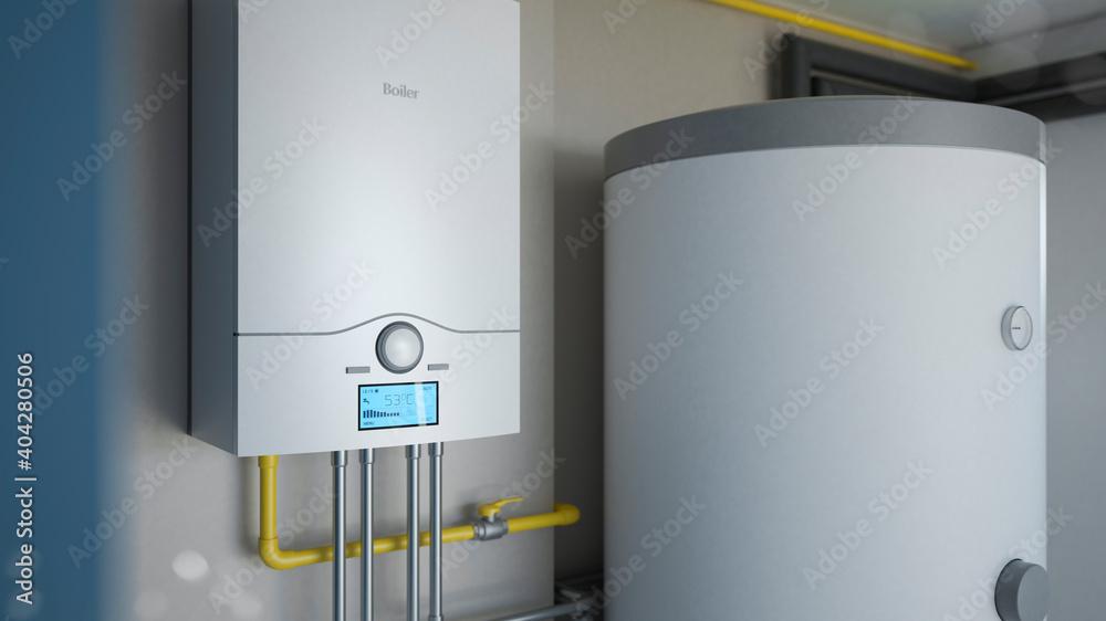 Fototapeta Boiler room - gas heating system, 3d illustration