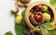 Horse Chestnuts In Wicker Basket On White Wooden Table, Flat Lay