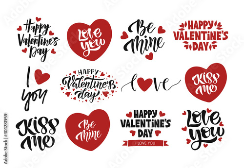Obraz Valentines Day celebration lettering set. Vector template for greeting card. Hand drawn modern quote illustration with heart for advertising, invitation, mug, poster, flyer, t shirt. - fototapety do salonu