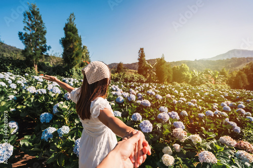 Obraz Young couple traveler relaxing and enjoying with blooming hydrangeas flower field in Thailand, Travel lifestyle concept - fototapety do salonu