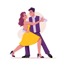 Dancers Dancing In Club Or Party Modern Dance Isolated Flat Cartoon Characters. Vector Woman On High Heels In Yellow Dress And Man In Purple Suit On Disco Entertainment, Stylish Retro Dancers