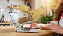 Woman Does Shopping Through E-commerce Online Shop. Concept Of Fast Delivery