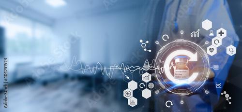Foto smart medical, health futuristic technology concept, dotcor medicine try to disc