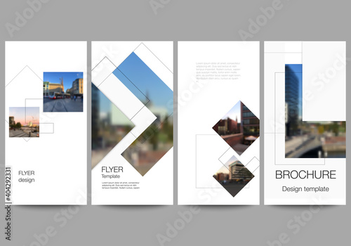 Obraz Vector layout of flyer, banner design templates with geometric simple shapes, lines and photo place for website advertising design, vertical flyer, website decoration backgrounds. - fototapety do salonu