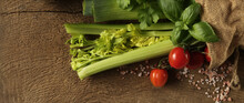 Rustic Background With Freshly Picked Vegetables