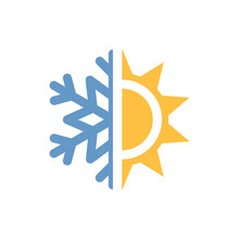 Half Sun And Snowflake Colorful Vector Icon. Weather Forecast Symbol.