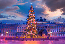 Saint Petersburg In A Winter Evening. Christmas Holidays In Russia. Christmas Decorations On Palace Square. New Year Panorama Of Saint Petersburg. Christmas Tree In Russia. Travel To Saint Petersburg
