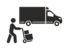 Delivery Truck Icon. Delivery Guy Pushing A Hand Truck With Boxes. Vector Icon Isolated On White Background.