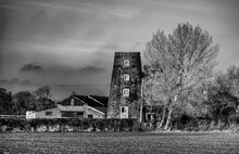 Black And White Image Of Windmill In Yorkshire England