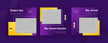 Set Of Editable Templates For Instagram Post, Facebook Square Frame, Social Media, Fashion Sale, Advertisement, And Business Promotion, Fresh Color And Minimalist Vector (3/3)
