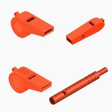 Isometric Whistle Set On White Background Vector Illustration