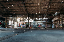 An Old Ailing Warehouse With Holes In The Roof, Abandoned Places