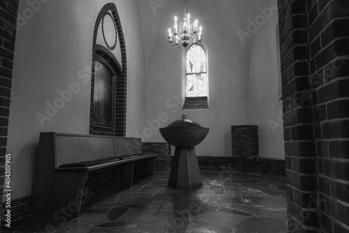Billede på lærred A christening room, a small christening room in a church