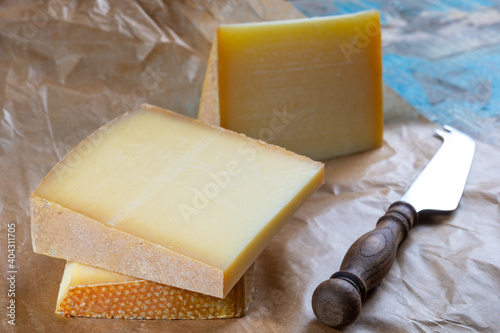 Fototapeta Cheese collection, French comte and Swiss gruyere cheeses obraz