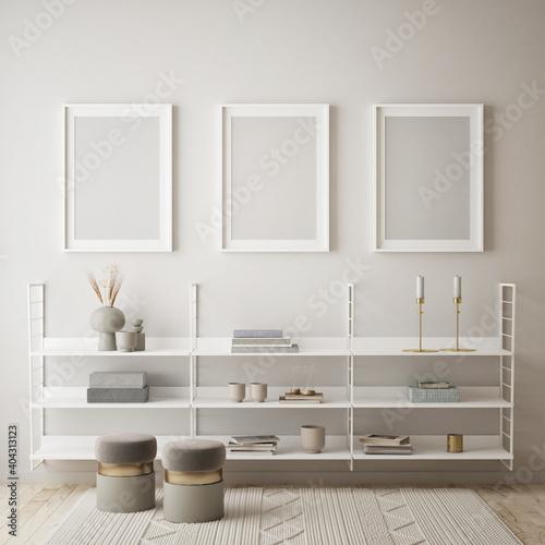 Obraz mock up poster frame in modern interior background, living room, Scandinavian style, 3D render, 3D illustration - fototapety do salonu