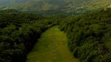 Breathtaking Landscape Of Appalachian Mountain Ski Slopes, Aerial Cinematic Tilt-up Reveal
