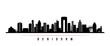 Benidorm skyline horizontal banner. Black and white silhouette of Benidorm, Spain. Vector template for your design.