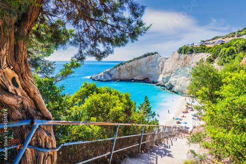 Obraz Lefkada, Greece. Porto Katsiki beach, Ionian islands. - fototapety do salonu