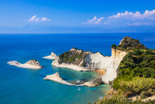 Corfu, Greece. View Of The Cliffs At Cape Drastis.