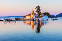 Corfu, Greece. Picturesque Vlacherna Monastery At Sunrise.