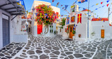 Fototapeta Uliczki - Mykonos, Greece. Panorama of the narrow streets of Mykonos town.