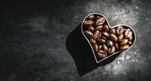 Coffee Beans In Heart Shape. We Love Coffee
