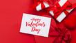 Leinwandbild Motiv Valentines day. Gift boxes and heart decor
