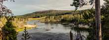 Panorama Shot Of Yellowstone River, Hills And Nature At Suuny Day In Yellowstone National Park In America