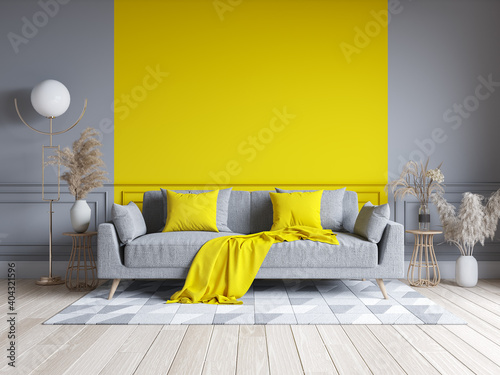 Modern living room interior design.  yellow and gray paint wall with gray sofa . Color of the year 2021. 3d render