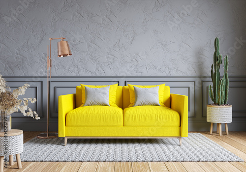 Modern living room and loft interior design. Yellow sofa on gray wall.Color of the year 2021. 3d render