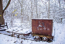 Coal Wagon Railway Tracks In The Snow In Germany