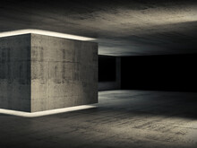 Abstract Concrete Interior, Dark Room With Neon Lights 3d