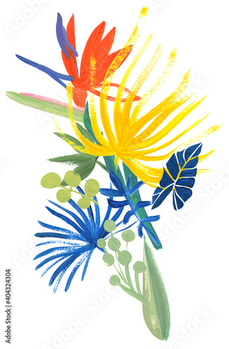 Canvas-taulu tropical bright vertical bouquet painted in gouache with palm leaves and Strelit