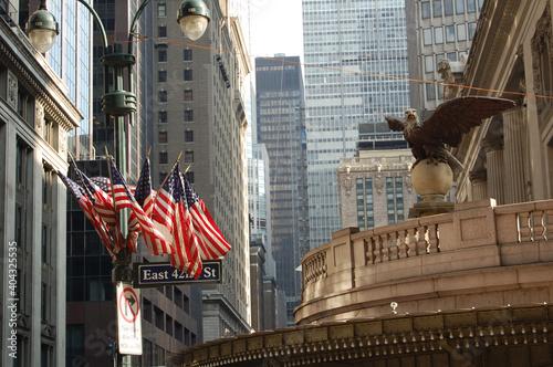 Vista de los edifiios y rascacielos emblemáticos de Manhattan (Nueva York). Central Station. Estados Unidos de America