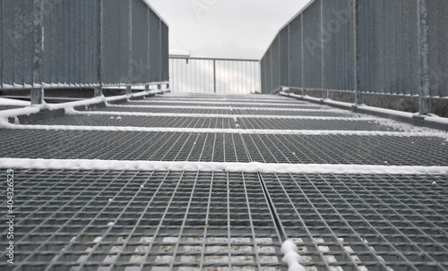 Canvas Print gray snow-covered staircase observation deck construction with high resistance t