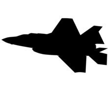 F 35 Air Force Stealth F-35 Lightning II Fighter Jet. Isolated Realistic Silhouette