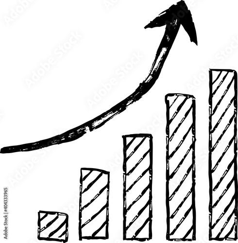 Billede på lærred 手書きの右肩あがりに上昇するグラフと矢印