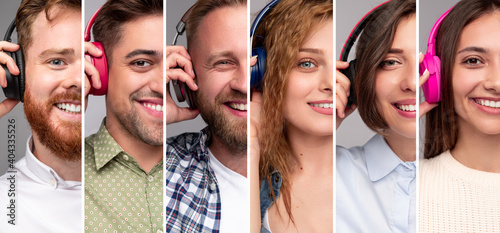 Obraz na plátně Happy young people listening to music with headphones
