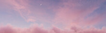Panoramic View To Soft Purple Sky With Fluffy Clouds And Crescent Moon