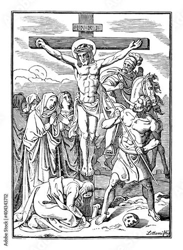 Fototapeta 12th or twelfth Station of the Cross or Way of the Cross or Via Crucis. Jesus dies on the cross.Bible,New Testament.Antique vintage biblical religious engraving or drawing. obraz